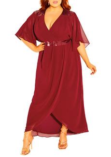 Plus Size Women's City Chic Sequin Faux Wrap Dress
