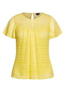 Plus Size Women's City Chic Serenity Lace Top