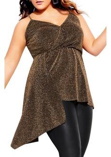 Plus Size Women's City Chic Shimmer Asymmetrical Hem Tank Top