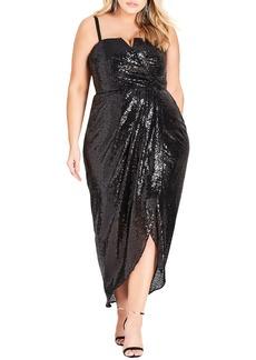 Plus Size Women's City Chic Siren Convertible Strap Sequin Faux Wrap Gown