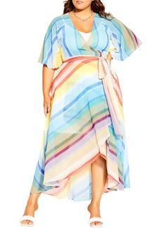 Plus Size Women's City Chic Stripe Wrap Dress