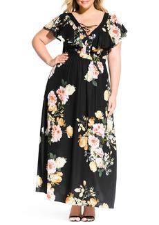 Plus Size Women's City Chic Tuscan Rose Maxi Dress