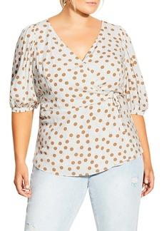 Plus Size Women's City Chic Top Golden Spot Wrap Blouse