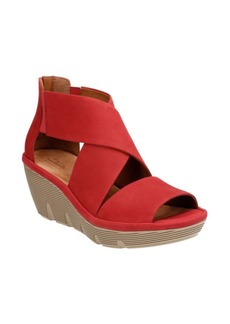 Clarks Clarene Glamor Leather Wedge Sandals