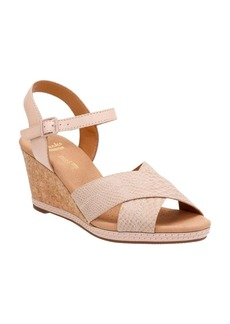 Clarks Helio Swan Leather Wedge Sandals