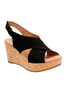 Clarks Leather Platform Wedge Sandals