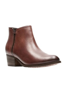 Clarks Mayprl Stacked Heel Leather Booties