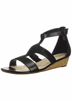 Clarks Women's Abigail Lily Wedge Sandal black leather/suede  M US