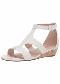 Clarks Women's Abigail Lily Wedge Sandal white leather  M US