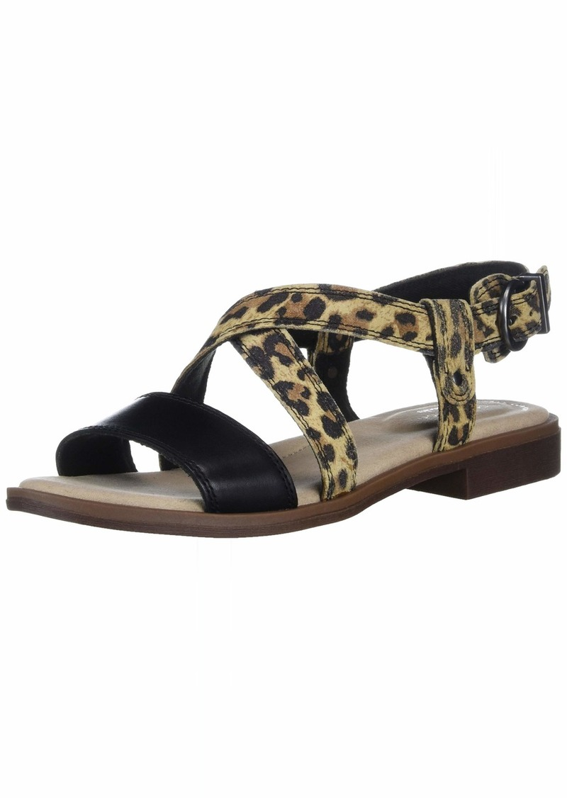 Clarks Women's Declan Spring Sandal Black leather/tan Leopard Combi 095 M US