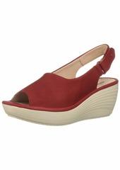 Clarks Women's Reedly Shaina Wedge Sandal red Nubuck 090 W US
