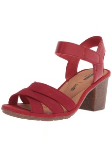 CLARKS Women's Sashlin Jeneva Heeled Sandal red Nubuck 10 Medium US