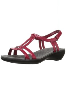CLARKS Women's Sonar Aster Sandal red Synthetic Patent 10 Medium US
