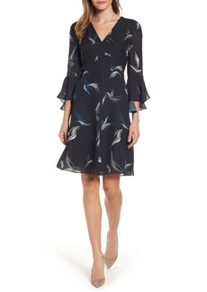 Classiques Entier® Bell Sleeve A-Line Print Silk Dress