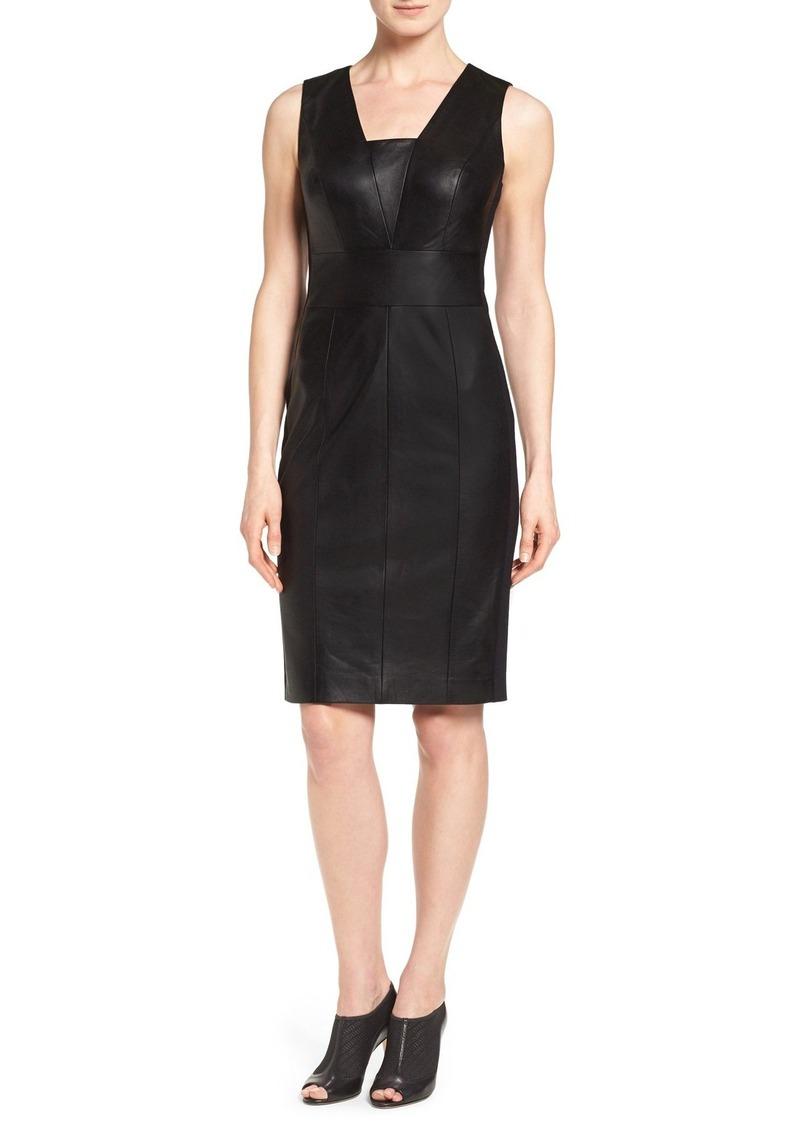Classiques Entier® Leather Front Sheath Dress
