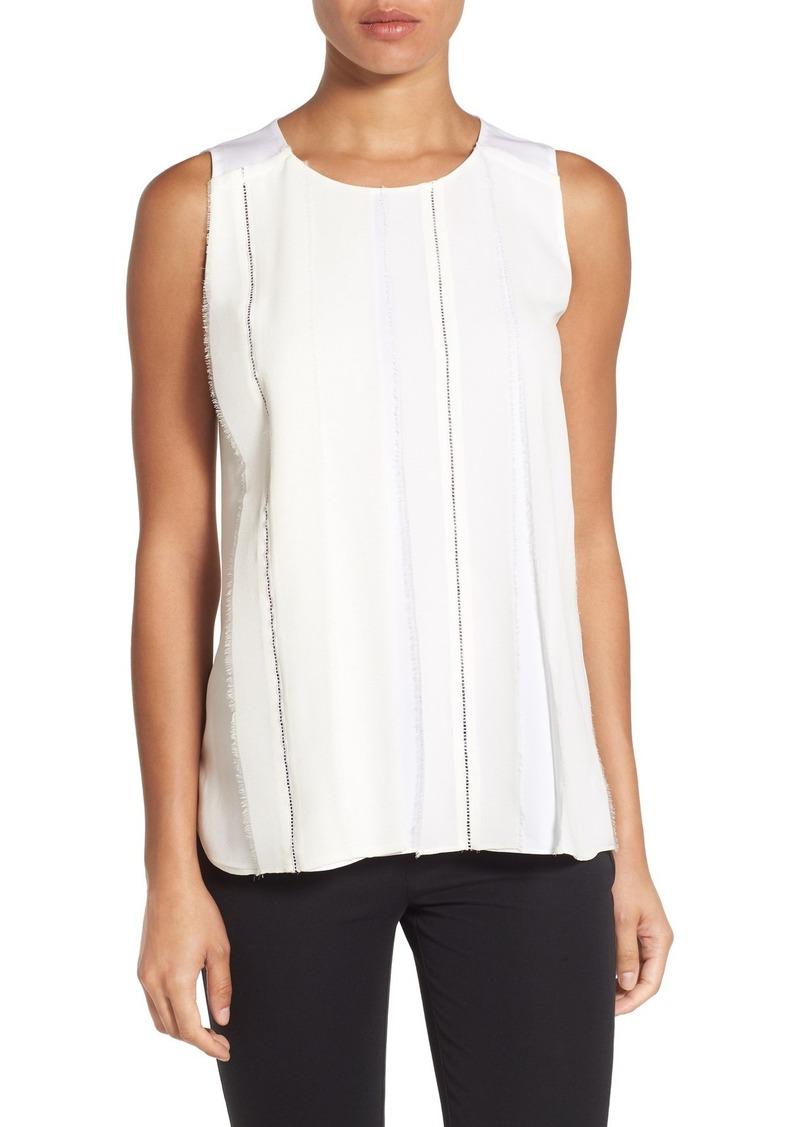Classiques Entier® Sheer Overlay Sleeveless Stretch Silk Blouse (Regular & Petite)