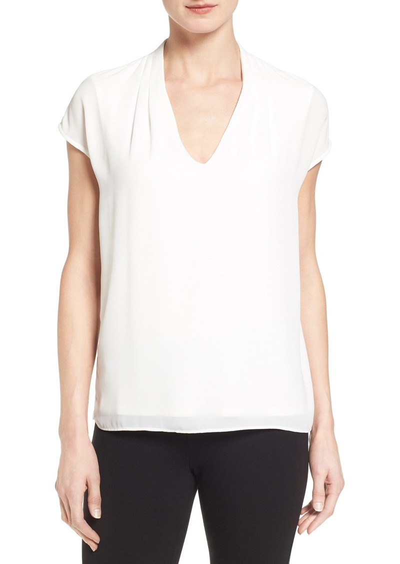 Classiques Entier® Silk Overlay V-Neck Shell (Regular & Petite)