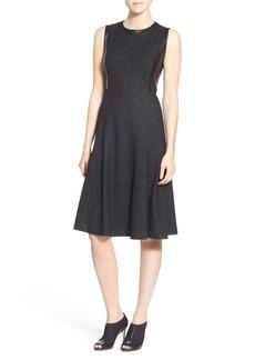 Classiques Entier Leather Trim Jacquard Fit & Flare Dress