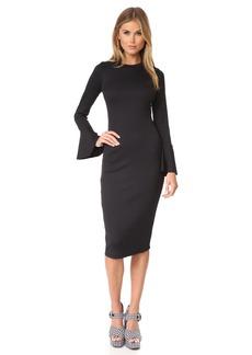 CLAYTON Women's Bell Sleeve Rib Booker Bodycon Midi Dress