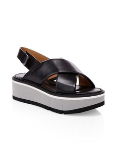 Clergerie Anae Leather Platform Slingback Sandals