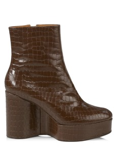 Clergerie Bliss 4 Croc-Embossed Leather Platform Wedge Boots