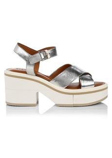 Clergerie Charline Metallic Leather Platform Sandals