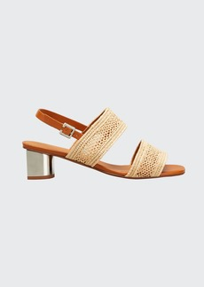 Clergerie Paris Leane Raffia Metallic-Heel Sandals