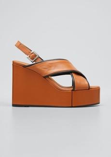 Clergerie Paris Mirane Crisscross Bicolor Wedge Platform Sandals