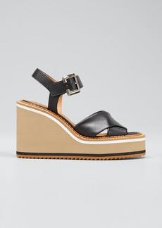 Clergerie Paris Noemie Crisscross Leather Wedge Sandals