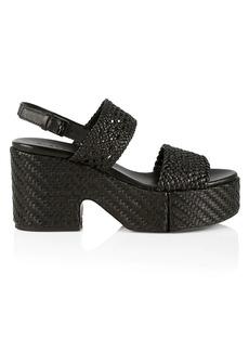 Clergerie Corey Woven Leather Platform Slingback Sandals