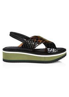 Clergerie Freedom Snakeskin-Embossed Leather Platform Wedge Slingback Sandals