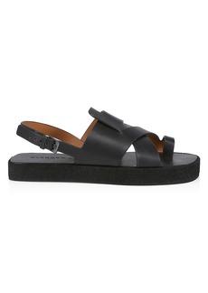 Clergerie Greta Leather Flatform Slingback Sandals