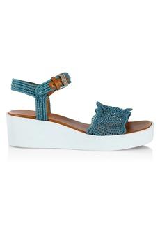 Clergerie Sally Raffia Platform Sandals