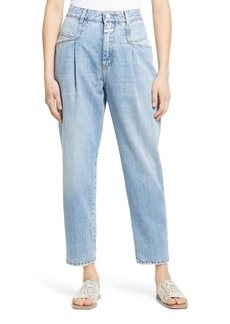 Women's Closed Pearl High Waist Pleated Nonstretch Straight Leg Jeans