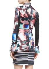 Clover Canyon Long-Sleeve Floral Ikat Dress