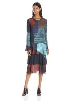 Clover Canyon Sportswear Women's Textured Ink Long Sleeve Dress