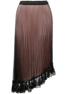 Clu asymmetric lace hem pleated skirt