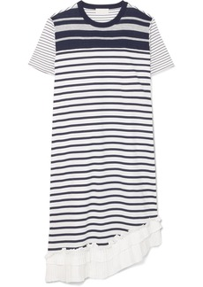 Clu Asymmetric ruffle-trimmed striped cotton-jersey dress