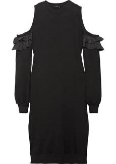 Clu Cold-shoulder silk-trimmed cotton-jersey dress