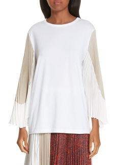 Clu Colorblock Pleated Sleeve Top