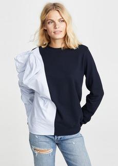 Clu Contrast Striped Bow Sweatshirt