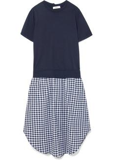 Clu Cotton-jersey and gingham cloqué midi dress