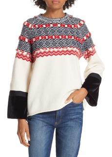Clu Fair Isle Mix Media Wool Blend Sweater