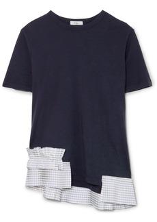 Clu Gingham Satin Ruffle-trimmed Cotton-jersey T-shirt