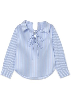 Clu Off-the-shoulder striped cotton and Tencel-blend shirt