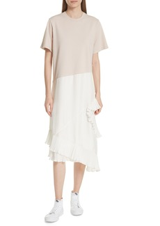 Clu Pleat Ruffle Trim Asymmetrical Dress