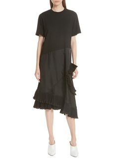 Clu Pleat Ruffle Trim Asymmetrical Dress