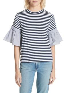 Clu Ruffle Sleeve Stripe Tee