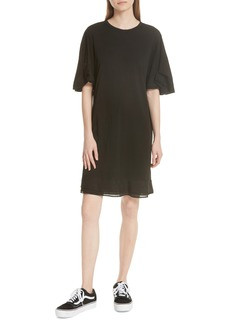 Clu Silk Trim Folded Sleeve T-Shirt Dress
