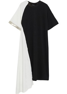 Clu Woman Asymmetric Metallic-trimmed Jersey And Satin-will Dress Black